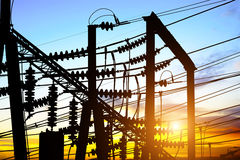 Sunset time substation Royalty Free Stock Photo