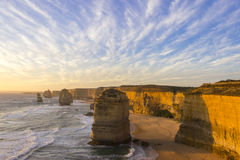 Sunset time at twelve apostles attractions on Green Ocean Road Stock Images
