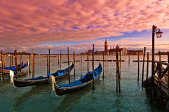 Sunset time in Venice, Italy. Royalty Free Stock Photography