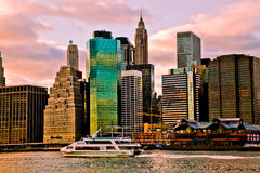 Sunset Time View of Manhattan, New York, USA Stock Photo