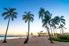 Sunset time in Waikiki beach, Honolulu, Hawaii Royalty Free Stock Photo
