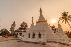 The sunset time at Wat Phra That Doi Kong Mu. Mae Hong Son Royalty Free Stock Photo
