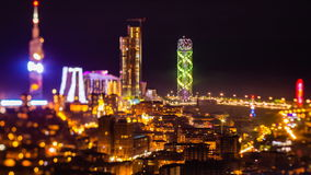 After sunset timelapse Batumi cityscape pan down. HD After sunset, night timelapse Batumi cityscape, pan down shot stock video footage