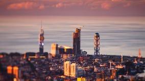 Sunset timelapse Batumi cityscape pan down. 4K Sunset timelapse Batumi cityscape, pan down shot stock video footage