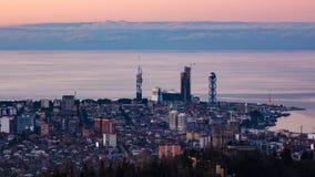 Sunset timelapse Batumi cityscape pan left. 4K Sunset timelapse Batumi cityscape, pan left shot stock video