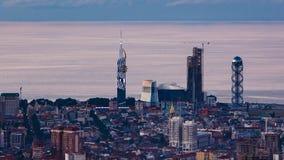 Sunset timelapse Batumi cityscape pan right. HD Sunset timelapse Batumi cityscape, pan right shot stock video
