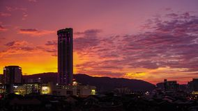 Sunset Timelapse on Penang Island with Komtar Tower View. Shot with a Sony a6300 fps29,97 4k stock video