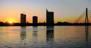 Sunset timelapse in Riga. 4k stock footage