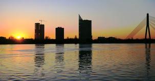 Sunset timelapse in Riga. 4k stock video