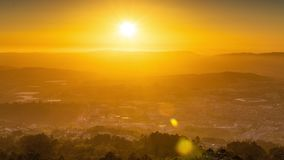 Sunset timelapse of sun rays over the Guimaraes. Amazing aerial sunset timelapse of sun rays over the Guimaraes cityscape in Portugal stock video footage