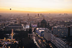 Sunset times in Berlin. berlin city panorama Stock Image