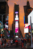 Sunset at Times Square. The sunsets behind Times Square Royalty Free Stock Image