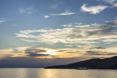 Sunset in Tinos island,Greece Royalty Free Stock Photos