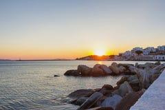 Sunset in Tinos island,Greece Stock Image