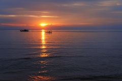 Sunset at Tioman island beach Royalty Free Stock Photo