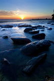 Sunset at the Tip of Borneo, Sabah, Malaysia Royalty Free Stock Photos