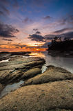 Sunset at tips of Borneo Royalty Free Stock Images