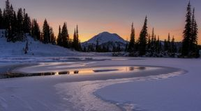 Sunset at Tipsoo Lake. stock photo