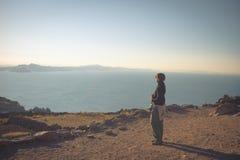 Sunset on Titicaca Lake, Amantani' Island, Peru, toned image Royalty Free Stock Images
