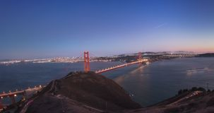 Golden Gate Bridge. Sunset to Night Panoramic Wide Angle Time Lapse from High up on Slacker Hill stock footage