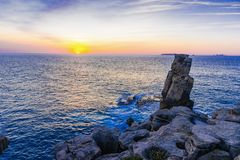 Sunset to ocean on the coast of Peniche, Portugal. Sunset to ocean on the coast of Peniche, Estremadura, Portugal landscape seascape nature sky background royalty free stock photography