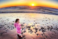 Sunset & toddler Stock Photo