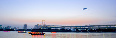 Sunset of Tokyo Bay with rainbow bridge Royalty Free Stock Images