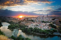 Sunset in Toledo, Castile-La Mancha, Spain Royalty Free Stock Photo