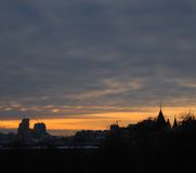 Sunset tomorrow in Kiev, Ukraine. Capital cities. Sundown with orange sunset Stock Photography