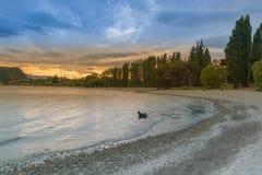 Sunset tone at Wanaka lake, New Zealand South Island Stock Images
