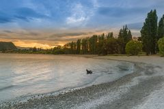 Sunset tone at Wanaka lake, New Zealand Stock Photo