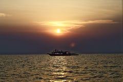 Sunset at tonle sap Royalty Free Stock Photo