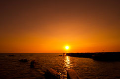 Sunset at Tonle Sap Lake Stock Photography