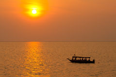 Sunset on the Tonle Sap lake Royalty Free Stock Photography
