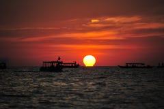 Sunset in Tonlesap lake Stock Photo