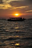 Sunset in Tonlesap lake. Of Cambodia Stock Images
