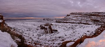 Winter sunset on the top of canyon in Utah USA. Sunset on the top of canyon top of the Moki Dugway Royalty Free Stock Photo