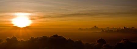 Sunset on Top of Haleakala. A perfect sunset - Top of Haleakala Volcano - Maui, Hawaii stock photo