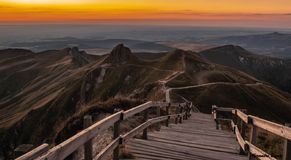 Sunset on the top of the Sancy, in Auvergne, in France stock photos