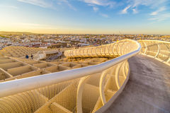 Sunset on the top of Seville. From the top of the Space Metropol Parasol (Setas de Sevilla) one have the best view of the city of Seville, Spain. It provides a Royalty Free Stock Images