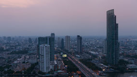 Sunset at Top view of Building, Bangkok, Thailand stock video footage
