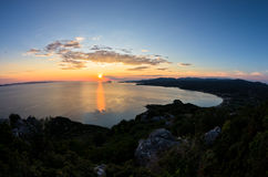 Sunset at Toroni bay, aerial photo from the top of a hill, west coast of Sithonia Stock Photography