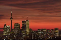 Sunset toronto. Sunset downtown toronto in a winter day Royalty Free Stock Photo