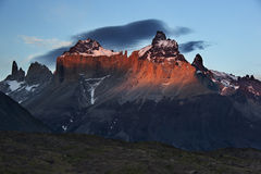 Sunset in Torres del Paine. Sunset at Cuernos del Paine massif at Chile Stock Photo
