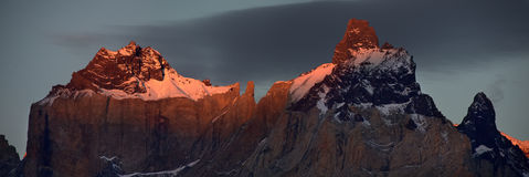 Sunset in Torres del Paine. Sunset at Cuernos del Paine massif at Chile Royalty Free Stock Photography
