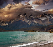 Sunset in Torres del Paine National Park Stock Images
