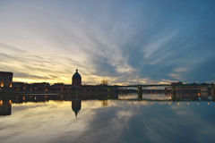 Sunset in Toulouse. Saint Michael bridge in Toulouse at sunset Stock Images