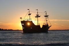 Sunset tour boat royalty free stock photography