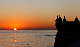 Sunset and Tower of Belem Stock Photos