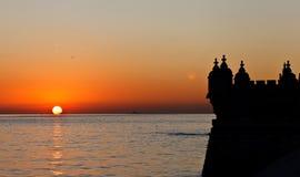 Sunset and Tower of Belem Stock Photos